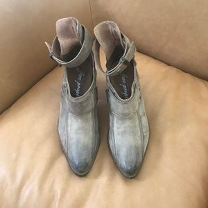 Free People Real Leather Grey/Tan Booties